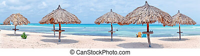 Panorama from grass umbrellas at the beach on Aruba island Image ID:425268115