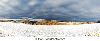 Panorama from landscape in winter