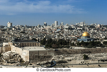 Panorama from Mount of Olives with the Dome of the rock and the old city walls in Jerusalem