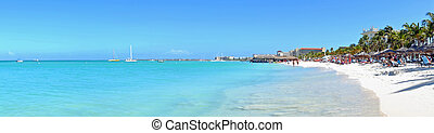 Panorama from Palm Beach on Aruba island in the Caribbean Sea