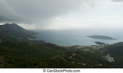 panorama from the mountain to the sea and the coast in...