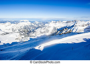 Panorama from Titlis mountain peak in winter, Switzerland