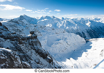 Panorama from Titlis over swiss alps, Engelberg, Switzerland