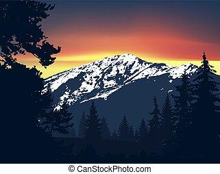 panorama, góry