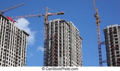 panorama, gebouwen, bouwsector, groot, weinig