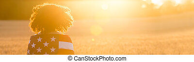 Panorama Girl Teenager Wrapped in USA Flag in Field at Sunset Panoramic Web Banner