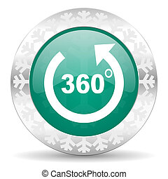 panorama green icon, christmas button