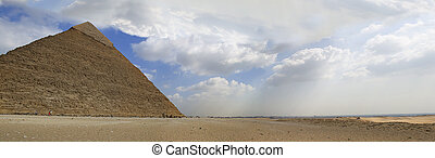 panorama, grote piramide, giza