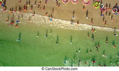 children have fun walking in ocean with kindergarteners -...