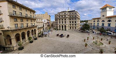 panorama, havanna, oud, stadsplein