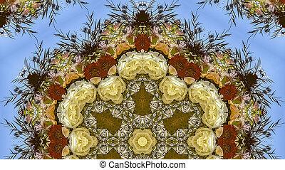 Panorama Hexagonal flowers in circular arrangement at wedding in California on blue background