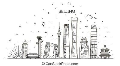 panorama, himmelsgewölbe, hintergrund, skyline, beijing