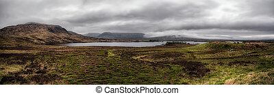 panorama, hochländer, schottische
