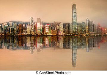 panorama, hong, distrito financeiro, kong