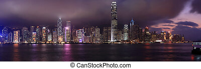 panorama, hong kong, noche