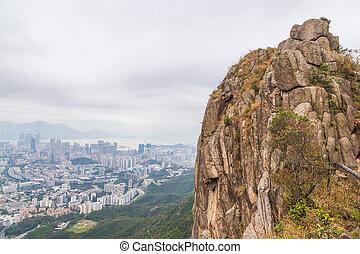 panorama, hong, skała, lew, kong