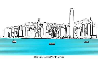 panorama, hong, skyline, kong