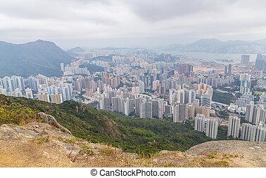 panorama, hongkong, lew, skała
