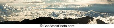 panorama, hoogte, hoog, ecuadoriaans, andes, op