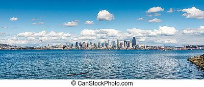 panorama, horizon, 2, seattle, nuageux