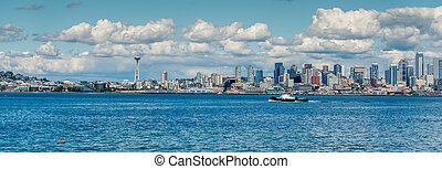 panorama, horizon, seattle, 3, nuageux