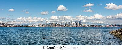 panorama, horizon, seattle, nuageux