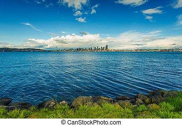 panorama, horizon, seattle