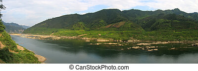 panorama, hunan, tropical, por, china, río, montañas