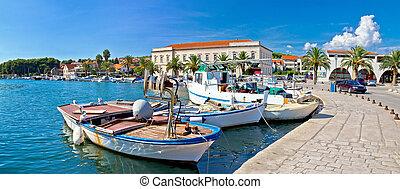 panorama, hvar, stari, grad, ilha