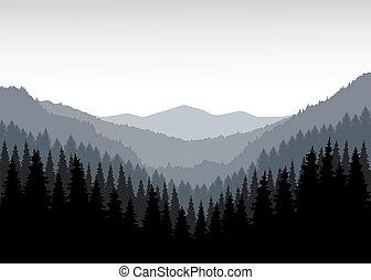 panorama, i, bjerge.
