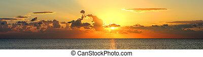 panorama, i, solopgang, hen, hav