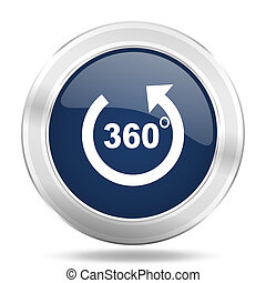 panorama icon, dark blue round metallic internet button, web and mobile app illustration