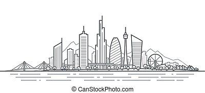 panorama., illustration., 線, 未来, アウトライン, 景色。, ダウンタウンに, 都市, 都市の景観, 公園, 抽象的な 芸術, 都市, 薄くなりなさい, スカイライン, オフィス, 超高層ビル, 建物, 未来派, 町
