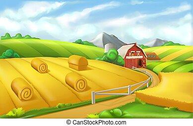 panorama, illustration, farm., vecteur, paysage, 3d
