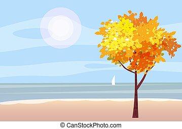 panorama, illustration, voilier, humeur, automnal, isolé, automne, arbre, rouges, jaune, océan, mer, orange, vecteur, feuilles, dessin animé, paysage, style