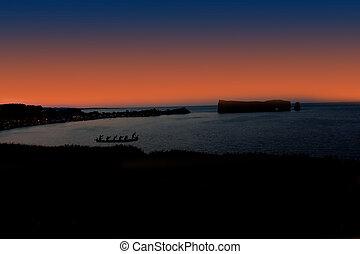 Panorama in Gaspé Peninsula during night.