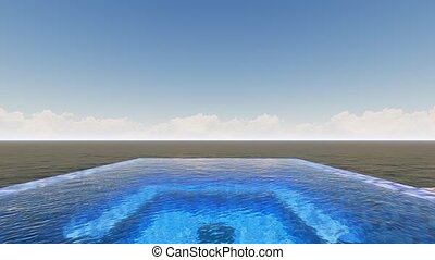 panorama, infinité, piscine, mer