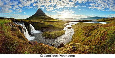 panorama, -, island, landschaftsbild