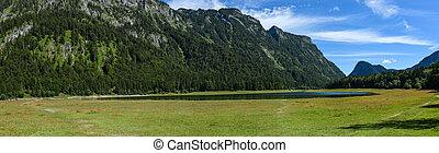 panorama, jezioro, 2, mittersee