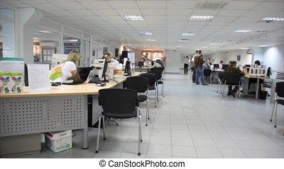 panorama, kantoor, van, auto, salon, waar, zijn, werknemers,...