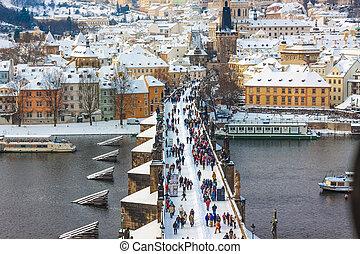 Karlov or Charles bridge in Prague in winter