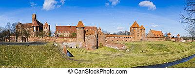 panorama, kasteel, polen, malbork