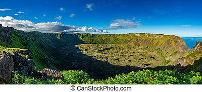 panorama, kau, vulkan, rano, krater, gigapan