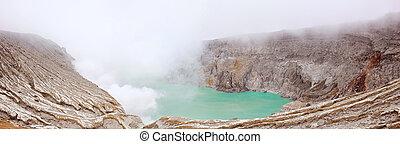 Panorama Khava Ijen Indonesia. - Panorama Crater of volcano...