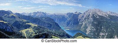 panorama, lac, koenigssee