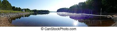 panorama, lac, levers de soleil
