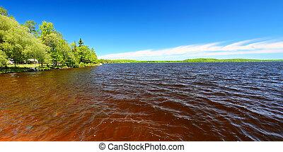 panorama, lago, gogebic