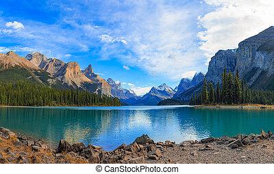 panorama, lago,  maligne