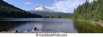 panorama, lago, oregon., mt., trillium, capuz