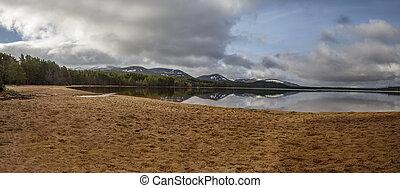 panorama, lago, playa, morlich